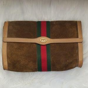 Authentic Vintage Gucci Suede Clutch